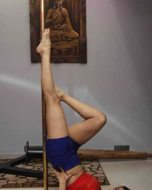 Photos: Actress Heena Panchal learning pole dance under the guidance of Smilie Suri