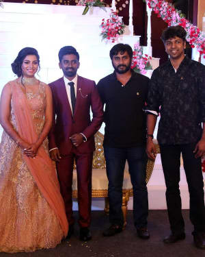 Madhan Karky - Music Director Dharan Kumar - Actress Deekshitha Wedding Reception Photos